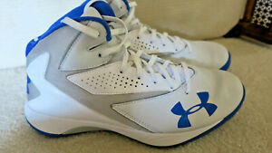 Mens Under Armour High Top Basketball Shoes Sz 8 White Blue $39.00