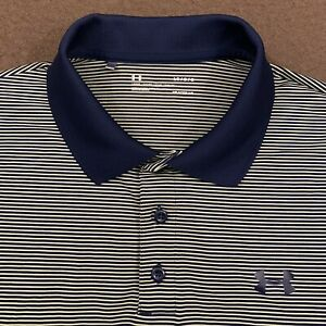 Mens UNDER ARMOUR Navy Blue Yellow Stripe Performance Golf Polo Shirt Large $21.99