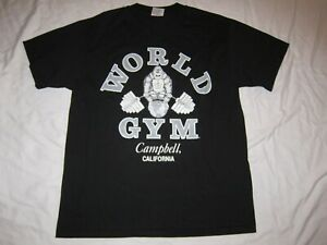 VINTAGE WORLD GYM T SHIRT MENS SIZE L CAMPBELL CALIFORNIA EUC made in USA $63.99