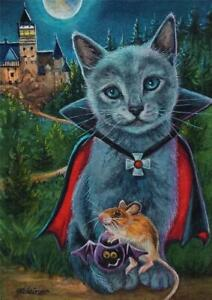 ACEO Original Watercolor Art Painting Halloween Cat & Mouse No. 3 by J. Weiner $22.49