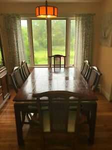 Expanding Real Wood Dining Table And Chairs and China Cabinet- Set For 6