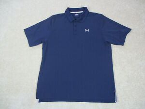 Under Armour Polo Shirt Adult Extra Large Blue White Golf Golfer Rugby Men A45* $18.88