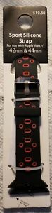 Apple Watch Sport Silicone Strap Band Replacement 42 44mm Black Red $8.00