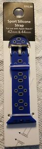Apple Watch Sport Silicone Strap Band Replacement 42 44mm Blue Gray $8.00