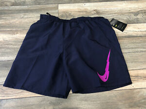 "Nike Men's 7"" Brief Lined Swoosh Running Shorts Purple CK0459 L Sample $39.00"