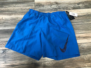 "Nike Men's 7"" Brief Lined Swoosh Running Basketball Shorts Blue L Sample $39.00"