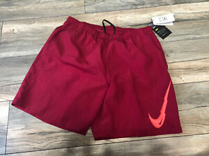 "Nike Men's 7"" Brief Lined Swoosh Running Basketball Shorts Red L Sample $39.00"