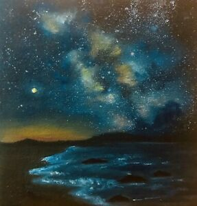 New Original Signed Oil Painting Realism - Starry Night By The Ocean - Seascapes $40.00