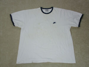 VINTAGE Nike Shirt Adult 2XL XXL White Blue Spell Out Swoosh Ringer Men 90s A40* $15.10