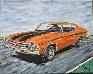 1969 CHEVELLE SS new 8x10 oil painting muscle car art original signed CROWELL $ $245.00