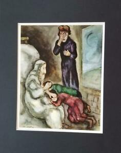 Marc Chagall The Blessing of Ephraim And Menassah Matted Offset Lithograph 1973 $24.99