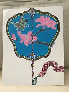 Original Hand Painted Watercolor of Hand Fan Butterfly Flowers Signed $21.99
