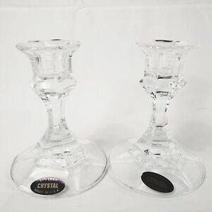 2 Crystal Candle Holders 24% Full Lead Made in USA 4