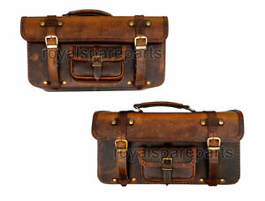 Royal Enfield Big Leather Bags Pair Brown Tan For GT Continental 650