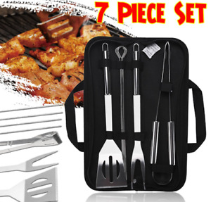 7pc Stainless Steel Grill Tool Set Combo of Utensils with bag BBQ Accessories