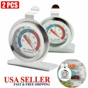 2PC Refrigerator Freezer Dial Type Thermometer Temp Meter Hanger Stainless Steel