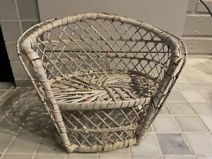 Vintage Wicker Rattan Double Wide Chair Loveseat Doll Plant Stand Boho Decor