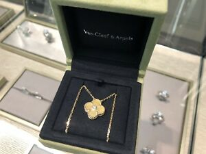 Limited Ed. Van Cleef Arpels Alhambra Pendant Gold Mother of Pearl Diamond $5500.00