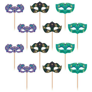 MASQUERADE Food Cupcake Picks Party Table Decorations Halloween Disguise Masks