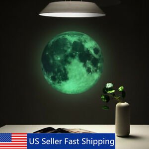 30cm Luminous Glow in the Dark Moon Wall Sticker Home Art Decor Kids Room