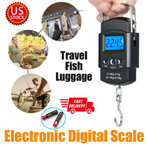 Hand LCD Electronic Digital Scale Travel Fish Luggage Postal Hanging Hook Weight $8.65