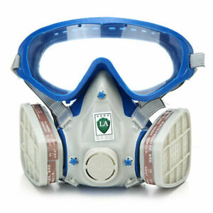 Full Face Respirator Gas Goggles Paint spraying Chemical Double Filter Breathing $23.49