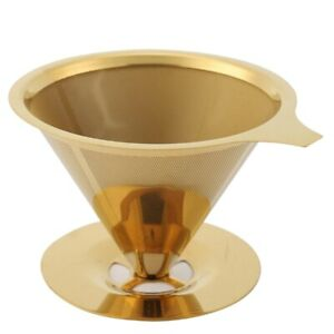 10X Double Wall Stainless Steel Titanium Gold Pour over Coffee Dripper