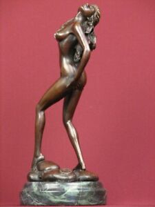SIGNED BRONZE SCULPTURE ART DECO HANDCRAFTED STATUE ON MARBLE BASE $179.00