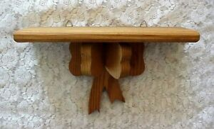 Vintage Wood Wall Shelf with Wood Bow Pine 12quot; Long Display Knick Knacks $14.99
