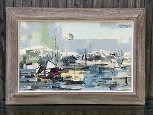 Schneider Cubism Abstract Seascape Painting Cubist Boat Marina Port Mid Century $1650.00