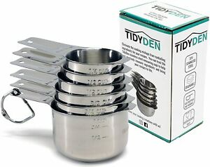 6 Piece Stainless Steel Measuring Cup Set by Tidy Den $17.92