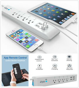 Power Strip with 4 USB Ports 2 Outlets and 5ft Extension Cord Desktop Charger