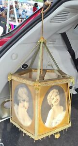 Antique Victorian Brothel Red Light Celloloid Photo Lamp Naughty Risque Ladies $899.00