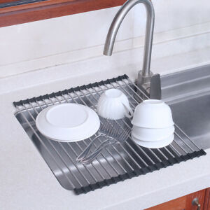 Foldable Kitchen Dish Drainer Roll Up Over Sink Dish Drying Rack Stainless Steel