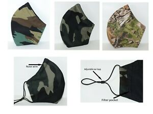 Reusable Washable Breathable Three Layer Camouflage Hunting Wood Camo Face Mask