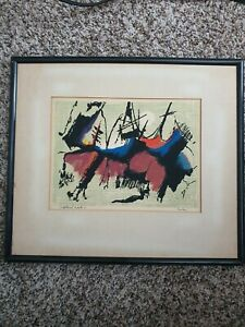 Vtg MCM seascape Painting Abstract SIGNED Upland Crest Philip Hicken Nantucket $115.00