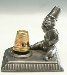 VINTAGE THIMBLE SEWING HOLDER JACK BE NIMBLE THIMBLE PINCUSHION COMPANION $75.00