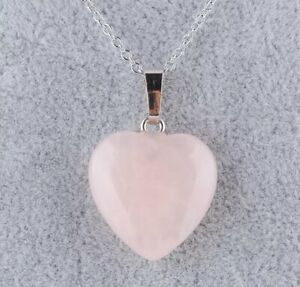 Rose Quartz Heart Pendant Necklace Gemstone Natural Stone 925 Silver Plated N87