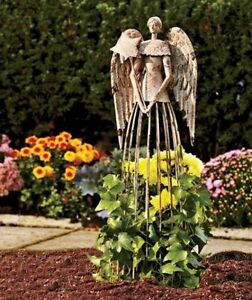 25#x27;#x27; Tall Antiqued Metal Garden Angel Rustic Outdoor Yard Decor Lawn Statue $42.95