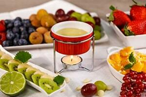 Red Ceramic Butter Warmers 2 Piece Set Fondue Pots Melters Stands Xmas Gift Idea