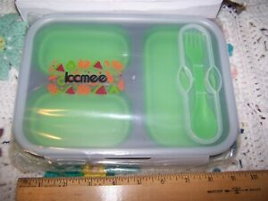 ICCMEE Silicone COLLAPSIBLE Lunch Box GREEN amp; FREE SHIPPING