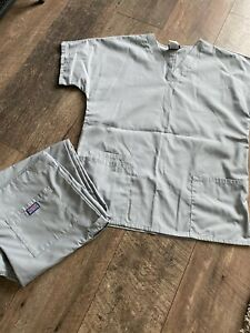 Cherokee Grey Scrubs Medical Set New Without Tags