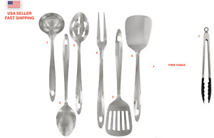 7 Piece Serving Spoons Stainless Steel Cooking Utensils Set Kitchen