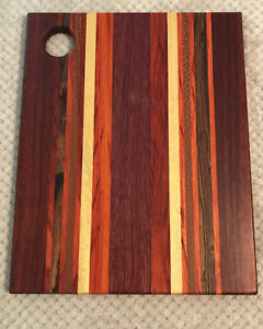 Exotic Wood Cutting Board with Circle Cutout Handle Unique Pattern *FREE SHIP*