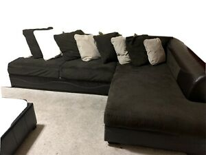 Ashley's Furniture L Shape Fabric Sectional Sofa Brown with FREE Picture