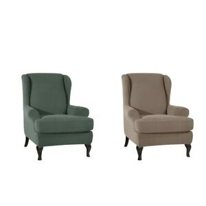 2 Set Cover Sofa Armchair Stretch Protector Slipcover For Bedroom TanGreen