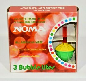Noma Vintage Christmas Tree 3 Bubble Lites Lights Ornaments Original Box NIB