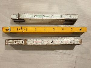 Lot of 3 Vintage Folding Rulers Stanley X226 Mechanic 72quot; $18.99