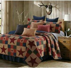 MOUNTAIN CABIN RED STARS 3 pc Queen QUILT SET CHECKERS PRIMITIVE BLUE CREAM