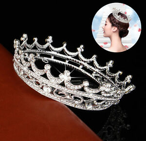 Queen Clear Austrian Rhinestone Tiara Bridal Pageant Prom Party Crystal Crown $10.99